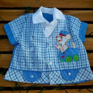 Vintage Adorable Postman Mouse Boys Plaid Shirt